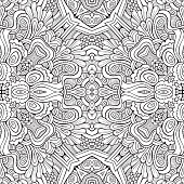 Abstract vector decorative nature ethnic hand drawn sketchy contour seamless pattern