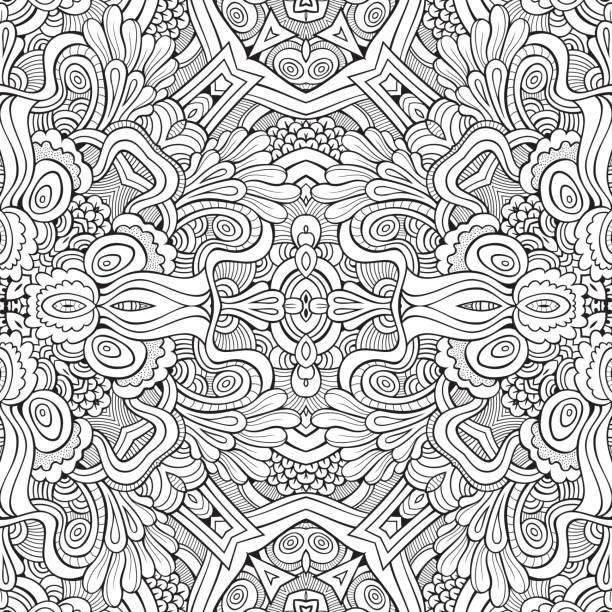 bildbanksillustrationer, clip art samt tecknat material och ikoner med abstract vector decorative nature ethnic hand drawn pattern - latino music