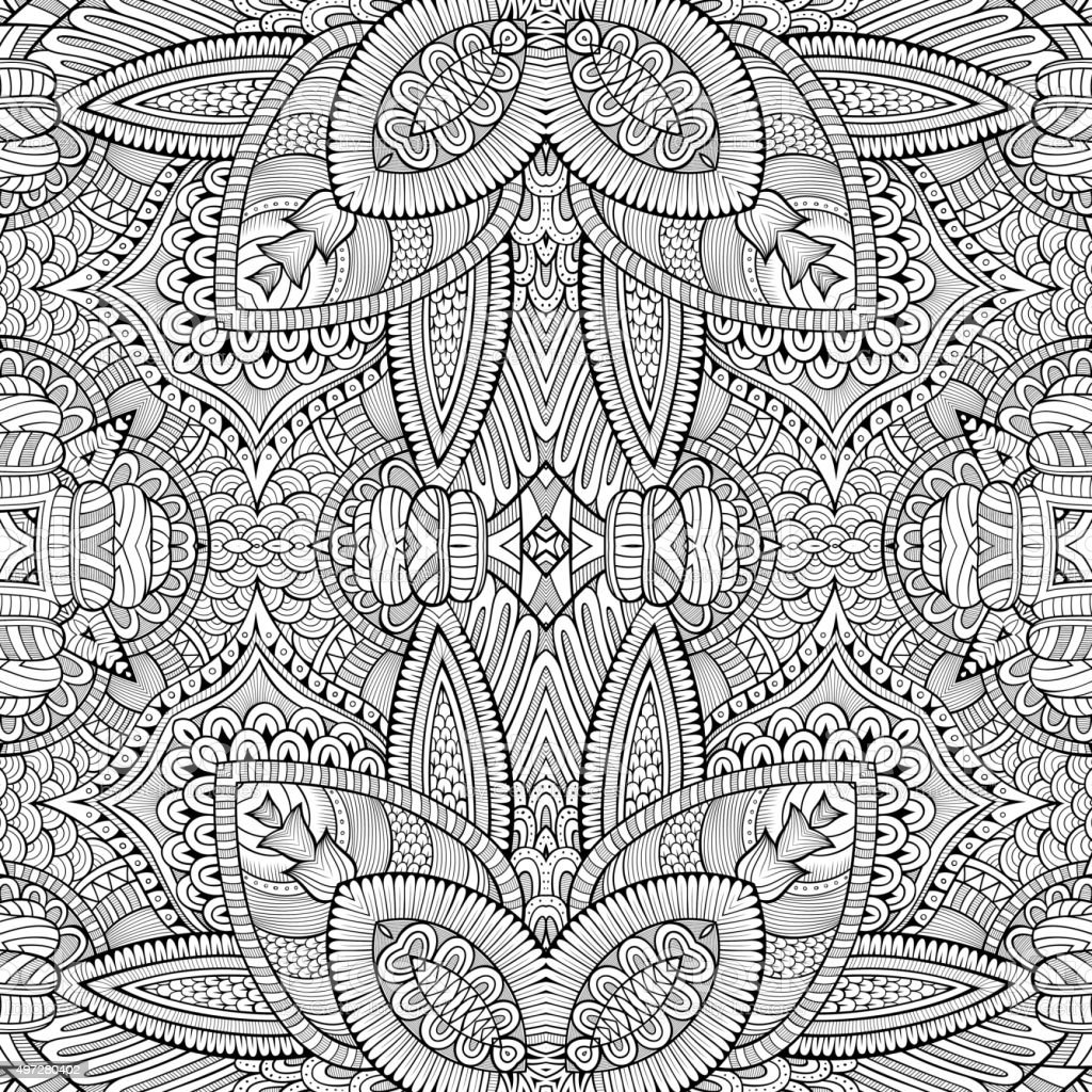 Abstract vector decorative nature ethnic hand drawn pattern vector art illustration