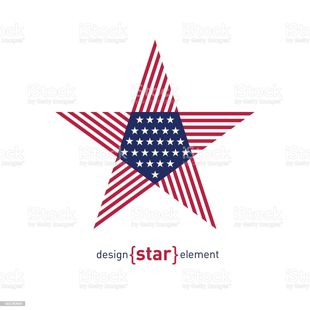 Abstract vector design element star with american flag vector art illustration