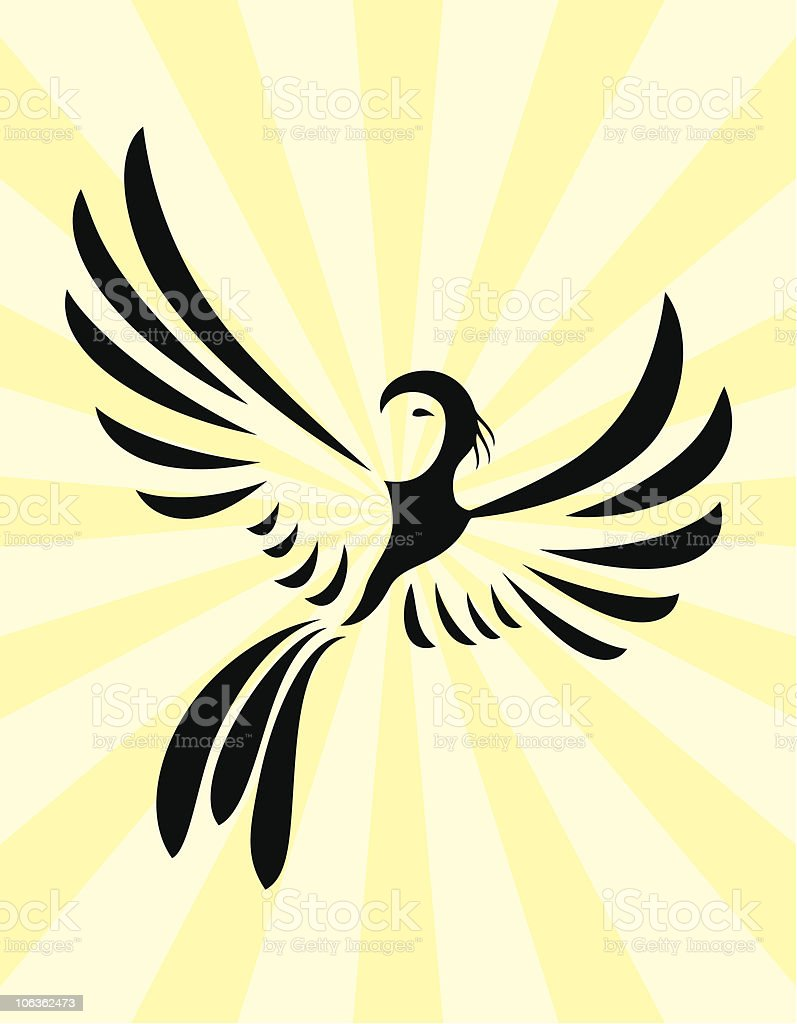 Abstract vector design of a phoenix against light background royalty-free stock vector art