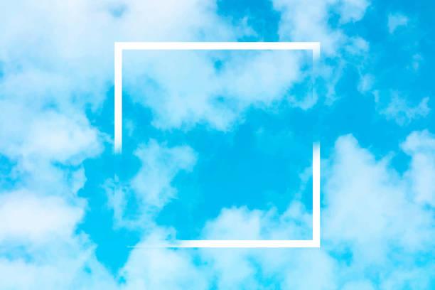 bildbanksillustrationer, clip art samt tecknat material och ikoner med abstrakt vektor design mall för en offert, blå himmel bakgrund med vita moln och en fyrkantig ram, en textur med en plats för text och logotyp - spain solar