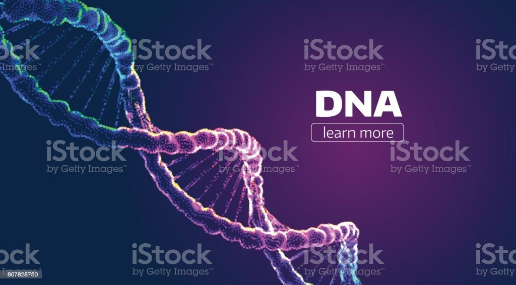 Abstract vector DNA structure. Medical science background vector art illustration