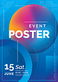 Futuristic Poster for Corporate Meeting, Online Courses, Master Class, Webinar, Business Event Announcement. Event poster event