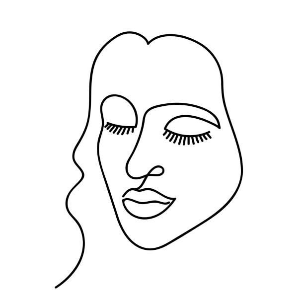 illustrations, cliparts, dessins animés et icônes de abstrait vecteur face un dessin de ligne. portrait femme style minimaliste. isolé sur fond blanc. - partie du corps d'un animal