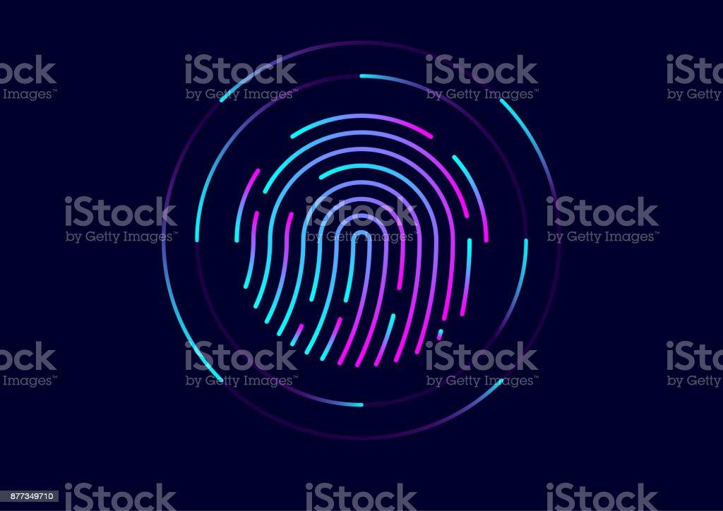 Abstract vector fingerprint icon / symbol vector art illustration