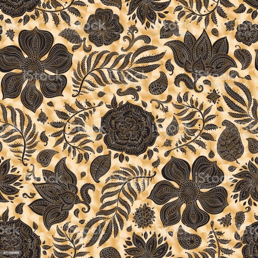 Abstract vector floral seamless pattern. Exotic Paisley elements, fantastic flower, leaves. Fairy foliage dark black silhouette on a gold colored spotted background. Textile bohemian print. Batik painting, wallpaper, wrapping paper, book cover, page fill vector art illustration