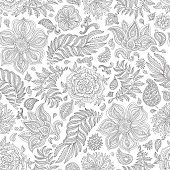 Abstract vector floral seamless pattern. Exotic silver grey Paisley elements, fantasy flower, leaves. Dark thin black contour line foliage on a  white background. Textile bohemian  print. Batik paint. Vintage wallpaper. Coloring book page