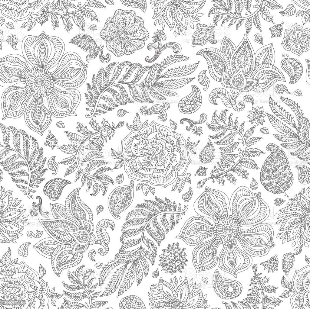 Patrón transparente floral abstracto del vector. Plata elementos gris exóticos de Paisley, flores de fantasía, hojas. Follaje oscuro delgada línea de contorno negro sobre un fondo blanco. Impresión Bohemia textil. Pintura batik. Papel pintado vintage. Página de libro para colorear - ilustración de arte vectorial