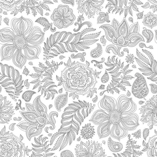 Abstract vector floral seamless pattern. Exotic silver grey Paisley elements, fantasy flower, leaves. Dark thin black contour line foliage on a  white background. Textile bohemian  print. Batik paint. Vintage wallpaper. Coloring book page Abstract vector floral seamless pattern. Exotic silver grey Paisley elements, fantasy flower, leaves. Dark thin black contour line foliage on a  white background. Textile bohemian  print. Batik paint. Vintage wallpaper. Coloring book page shabby chic stock illustrations