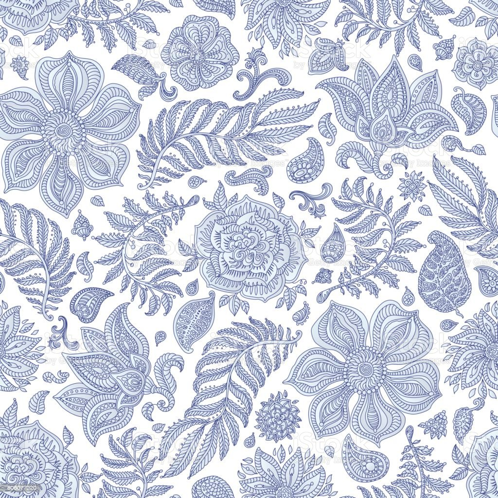 Abstract vector floral seamless pattern. Exotic silver grey Paisley elements, fantastic flower, leaves. Dark  indigo blue thin contour line. Fairy foliage on a white background. Textile bohemian  print. Batik painting.Vintage vector art illustration