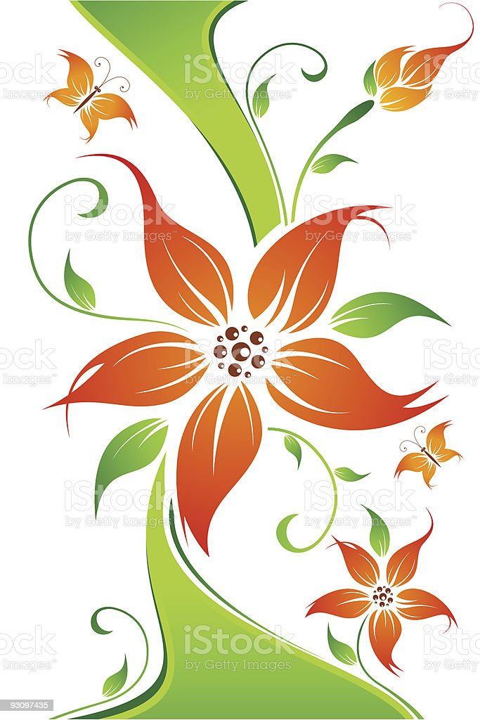 Abstract vector flower background with butterfly royalty-free abstract vector flower background with butterfly stock vector art & more images of abstract