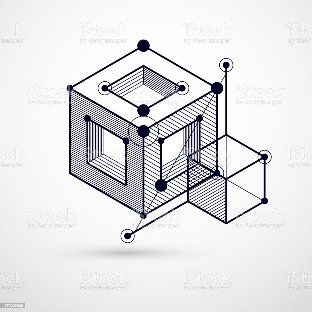 Abstract Vector Geometric 3d Elements In Futuristic Style Black And ...