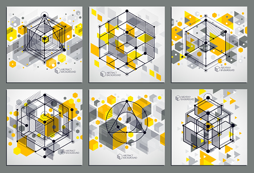 Abstract vector geometric 3D elements in futuristic style yellow template compositions set. Technical plan can be used in web design and as wallpaper or background.