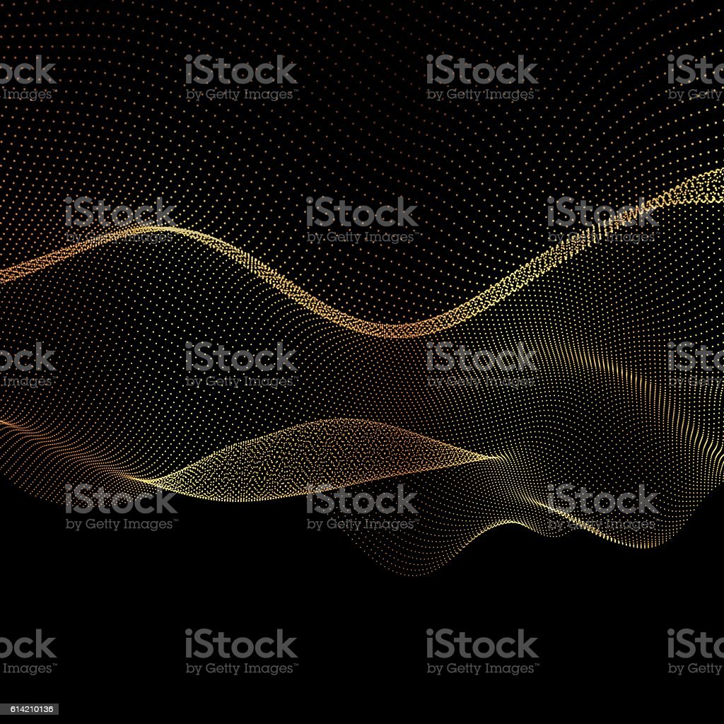 Abstract vector gold flowing dots background vector art illustration