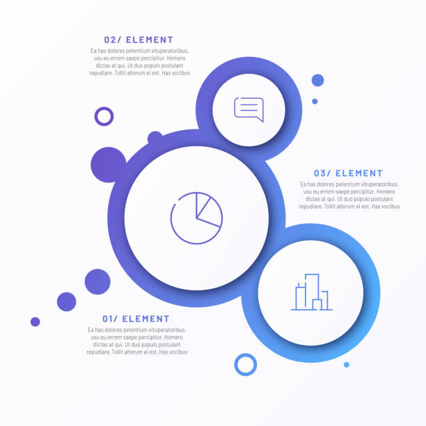 abstract vector gradient minimalistic infographic template composed of 3 circles - infografiki stock illustrations