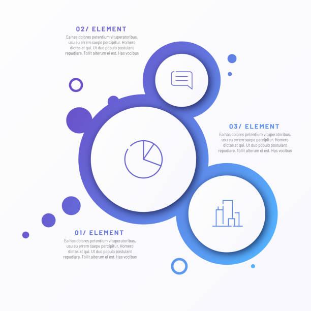 ilustraciones, imágenes clip art, dibujos animados e iconos de stock de plantilla infográfica minimalista de gradiente vectorial abstracto compuesta por 3 círculos - infografías