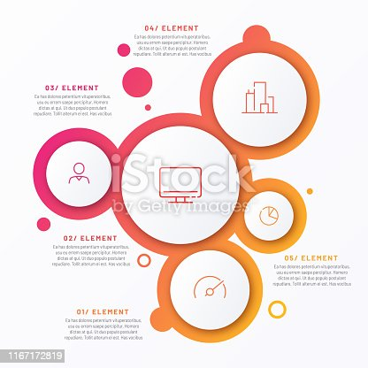 Abstract vector gradient minimalistic infographic template composed of 5 circles.