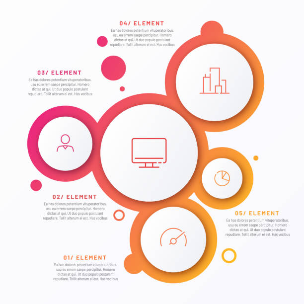 Abstract vector gradient minimalistic infographic template composed of 5 circles Abstract vector gradient minimalistic infographic template composed of 5 circles. diagram stock illustrations