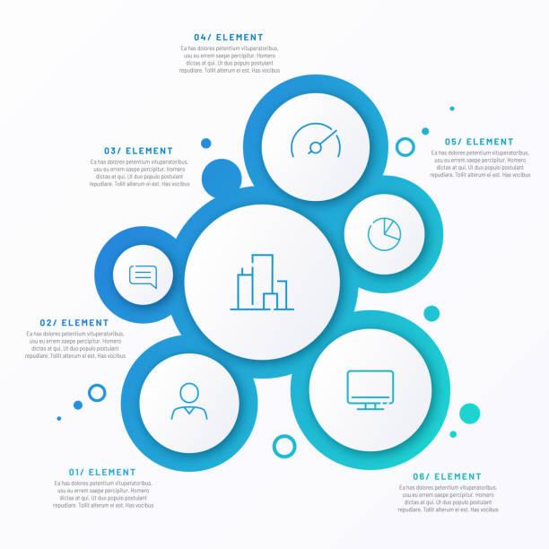 abstrakte vektorgradient minimalistische infografik vorlage bestehend aus 6 kreisen - blase physikalischer zustand stock-grafiken, -clipart, -cartoons und -symbole