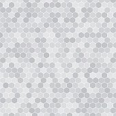 Abstract vector gray background with hexagon shapes different opacity.