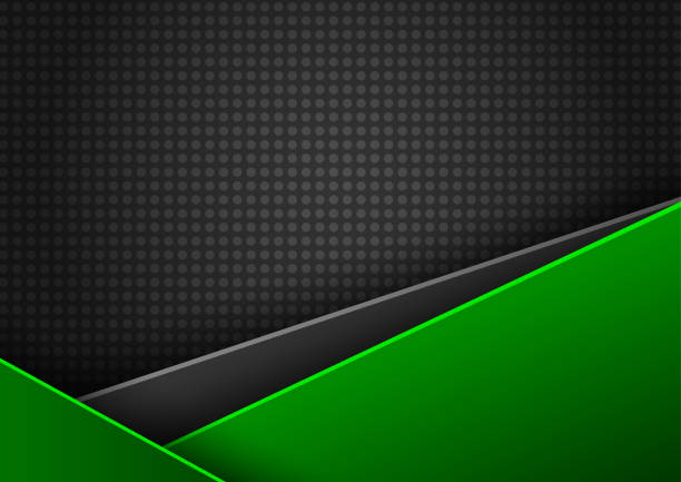 Abstract vector green and black background with space for text vector art illustration