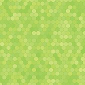 Abstract vector green background with hexagon shapes different opacity.