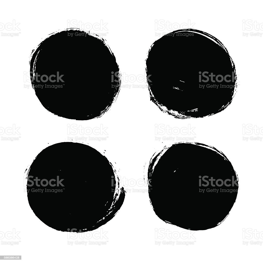 Abstract vector grunge ink circle. Vintage textured background. vector art illustration