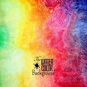 Abstract vector hand drawn rainbow color watercolor background, stain colors on wet paper