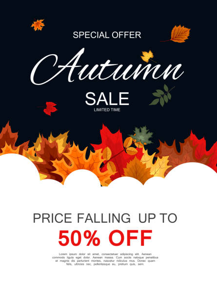 Abstract Vector Illustration Autumn Sale Background with Falling Autumn Leaves Abstract Vector Illustration Autumn Sale Background with Falling Autumn Leaves. EPS10 fall background stock illustrations