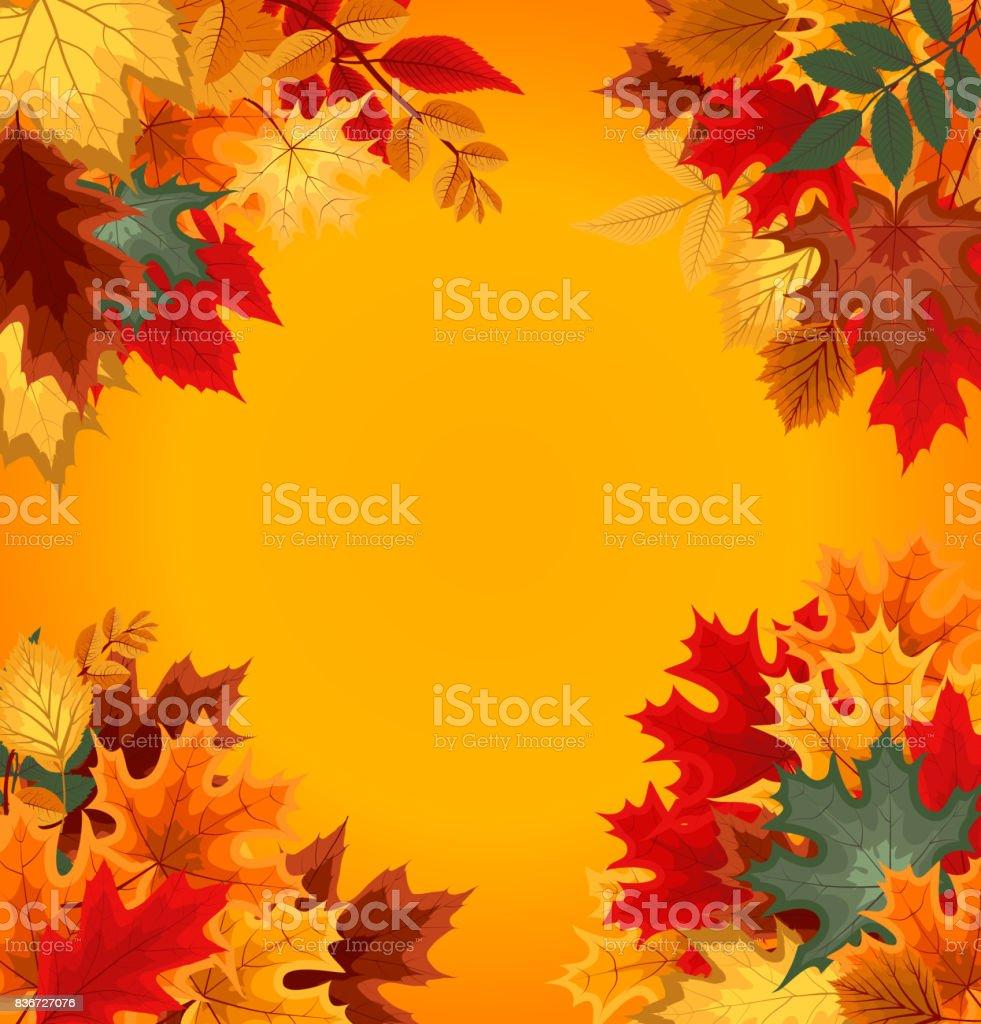 秋の落ち葉と抽象的なベクトル イラスト背景 のイラスト素材 836727076