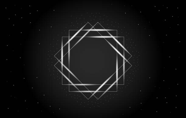 Abstract vector illustration of a geometric rectangle in the center. Frame with with stars with dark background. vector art illustration
