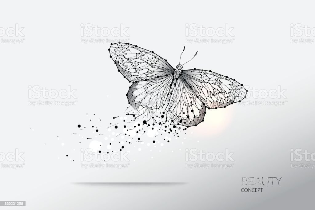 Abstract vector illustration of butterfly moving vector art illustration