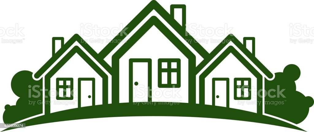 Abstract vector illustration of country houses with horizon line. Village theme picture – green house. Simple buildings on nature background, graphic emblem for advertising and real estate. abstract vector illustration of country houses with horizon line village theme picture green house simple buildings on nature background graphic emblem for advertising and real estate - stockowe grafiki wektorowe i więcej obrazów abstrakcja royalty-free