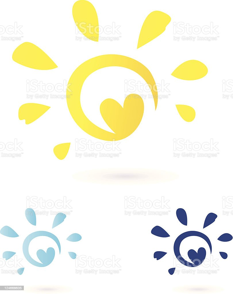 Abstract vector illustration of heart and the sun royalty-free stock vector art