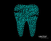 Abstract vector illustration of tooth with caries on black background.