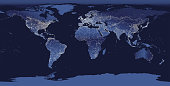 abstract vector illustration of world city lights map. Night Earth view from space.