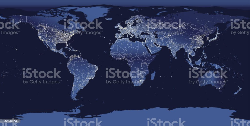 abstract vector illustration of world city lights map. Night Earth view from space. vector art illustration