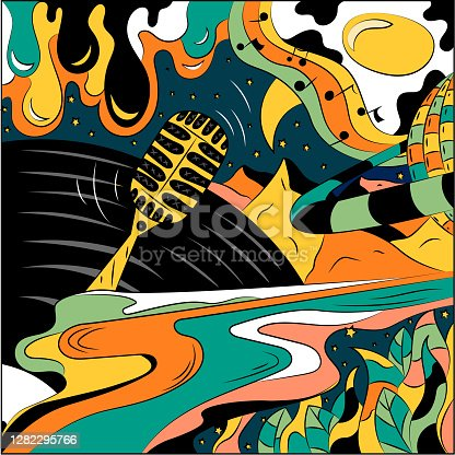 istock Abstract vector illustration on the theme of music. Surrealistic background picture 1282295766