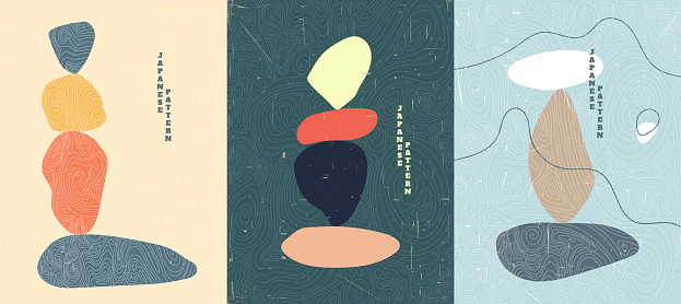Abstract vector illustration. Stone balancing concept. Minimalist shapes. Linear curved pattern. Old paper with scratches effect. Design for cover, poster, brochure, gift card. Flat color background