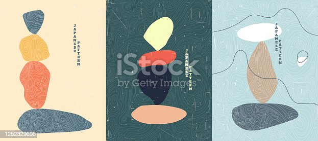 istock Abstract vector illustration. Stone balancing concept. Minimalist shapes. Linear curved pattern. Old paper with scratches effect. Design for cover, poster, brochure, gift card. Flat color background 1252329695
