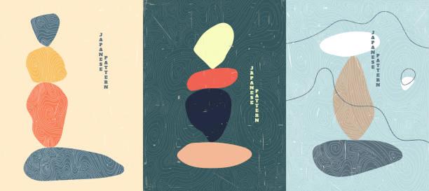 bildbanksillustrationer, clip art samt tecknat material och ikoner med abstrakt vektorillustration. sten balansering koncept. minimalistiska former. linjärt böjt mönster. gammalt papper med repor effekt. design för omslag, affisch, broschyr, presentkort. platt färg bakgrund - stillsam scen