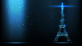 Abstract vector Illustration wireframe telecommunications signal transmitter, france radio antenna eiffel tower from lines and triangles, point connecting network on dark background