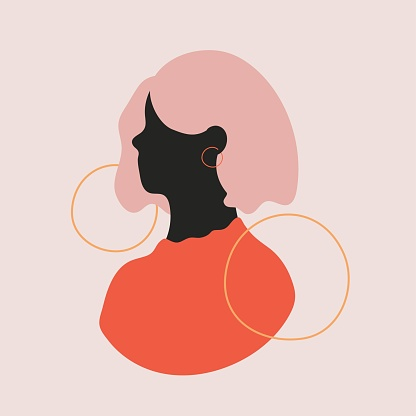 Abstract vector illustration with woman's face.