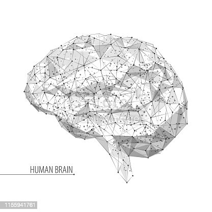 Abstract vector image of human brain - three-dimensional low poly illustration. Outlines, triangles, dots. Plexus. Template design on dark blue background.