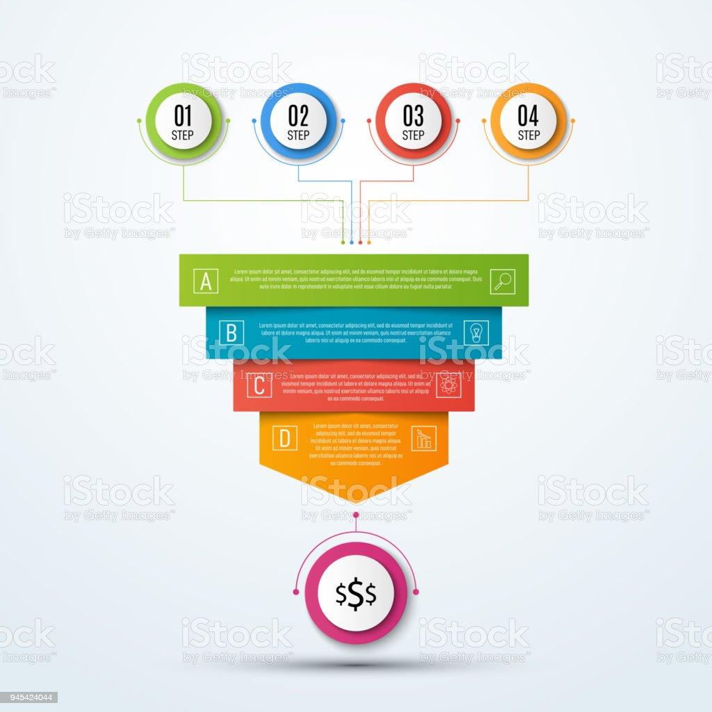 Abstract vector infographie. Visualisation de données d'entreprise. Modèle de présentation. Illustration 3d entonnoir de ventes - Illustration vectorielle