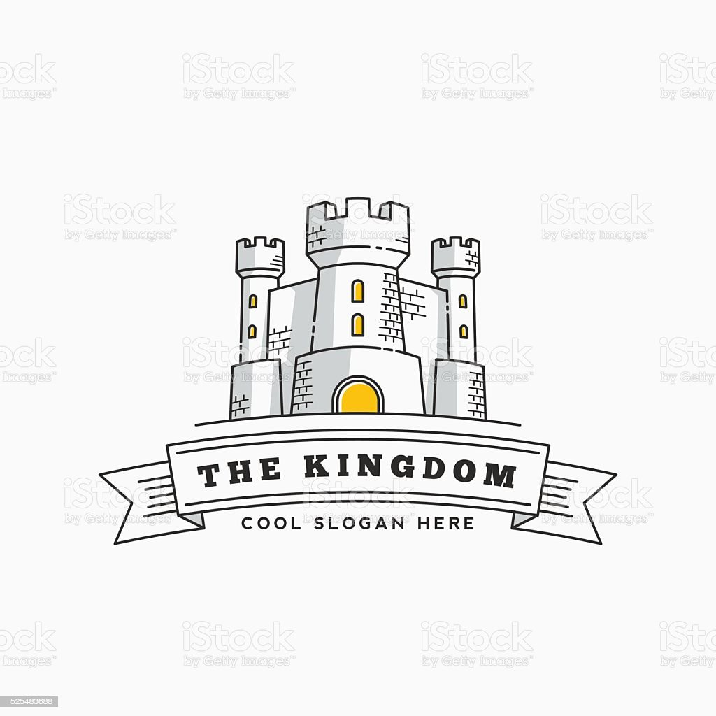 Abstract Vector Kingdom Label, Sign or Logo Template. Fortress Symbol vector art illustration