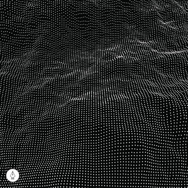 abstract vector landscape background. 3d technology vector illustration. - black and white mountain stock illustrations, clip art, cartoons, & icons