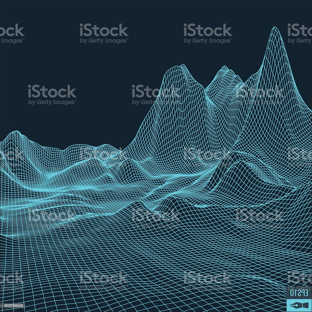 Abstract vector landscape background. Cyberspace  grid. 3d technology  illustration. vector art illustration