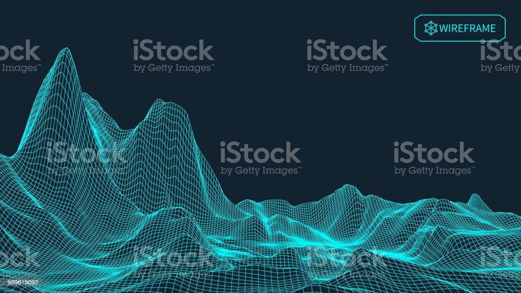 Fondo de vector abstracto del paisaje. Red del ciberespacio. Ilustración de vector de tecnología 3D - arte vectorial de Abstracto libre de derechos